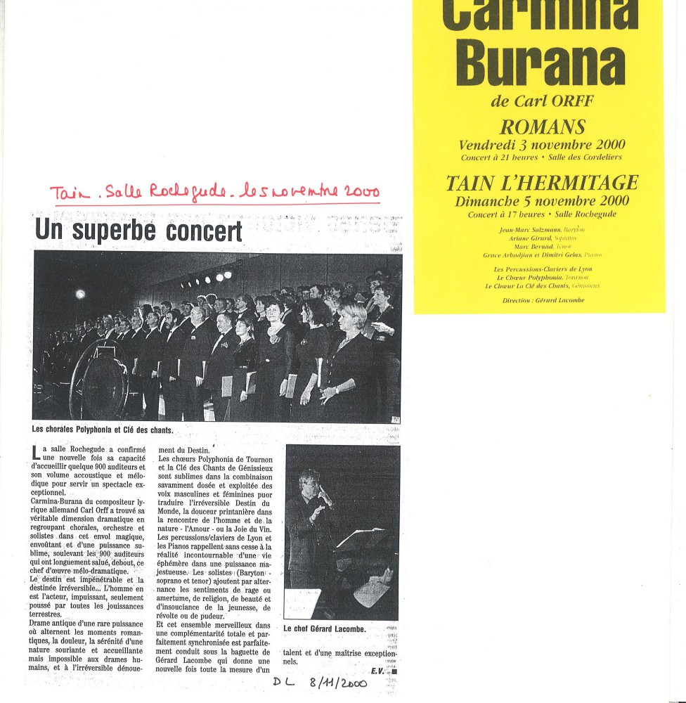 Article de journal consécutif au concert donné en Novembre2000
