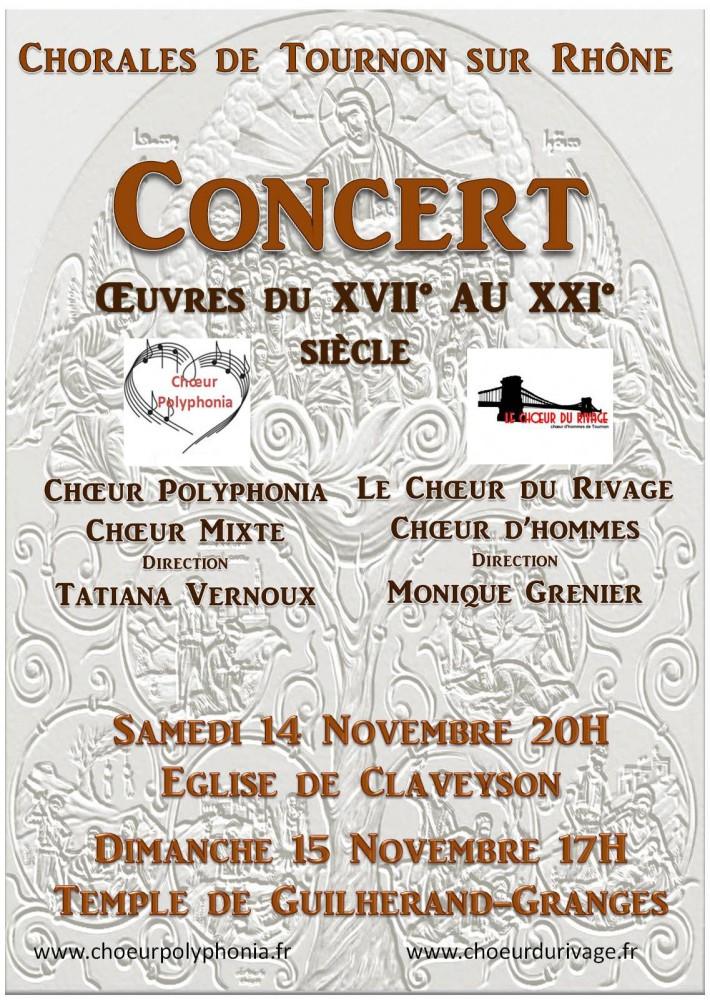 Concert Guilherand Granges et Claveyson 14 et 15 novembre 2015